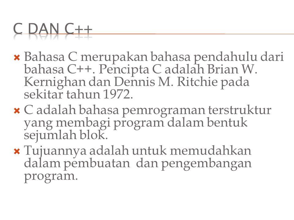  Bahasa C merupakan bahasa pendahulu dari bahasa C++. Pencipta C adalah Brian W. Kernighan dan Dennis M. Ritchie pada sekitar tahun 1972.  C adalah