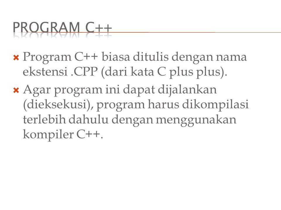  Program C++ biasa ditulis dengan nama ekstensi.CPP (dari kata C plus plus).  Agar program ini dapat dijalankan (dieksekusi), program harus dikompil