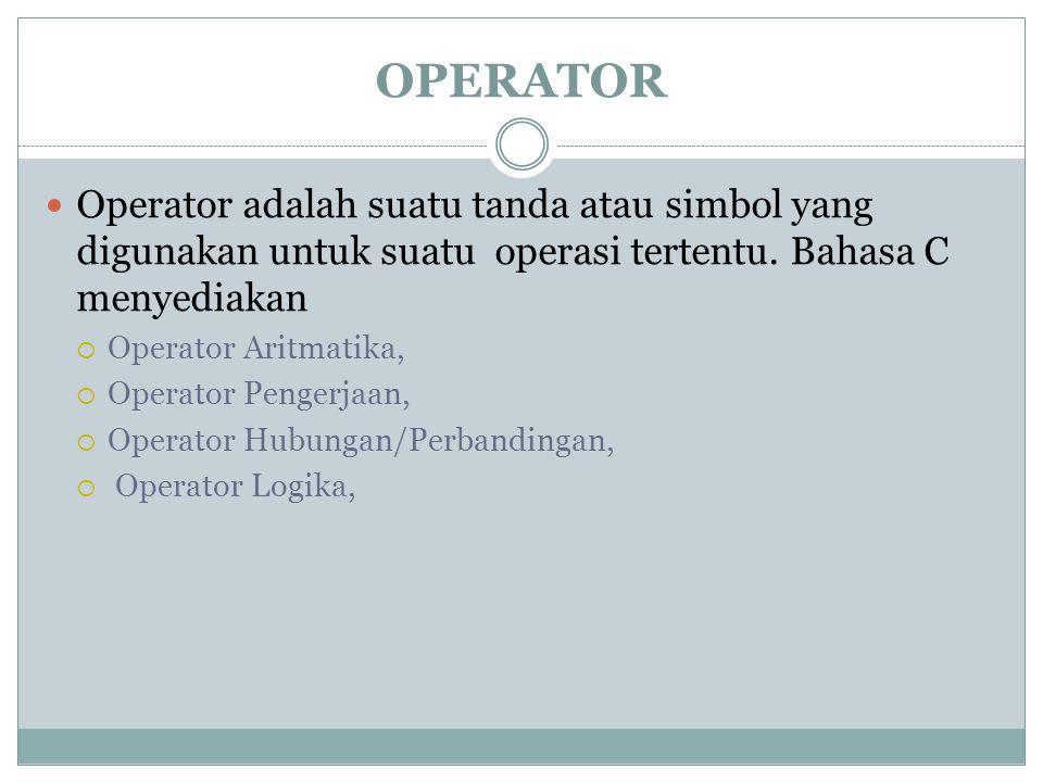 OPERATOR Operator adalah suatu tanda atau simbol yang digunakan untuk suatu operasi tertentu. Bahasa C menyediakan  Operator Aritmatika,  Operator P
