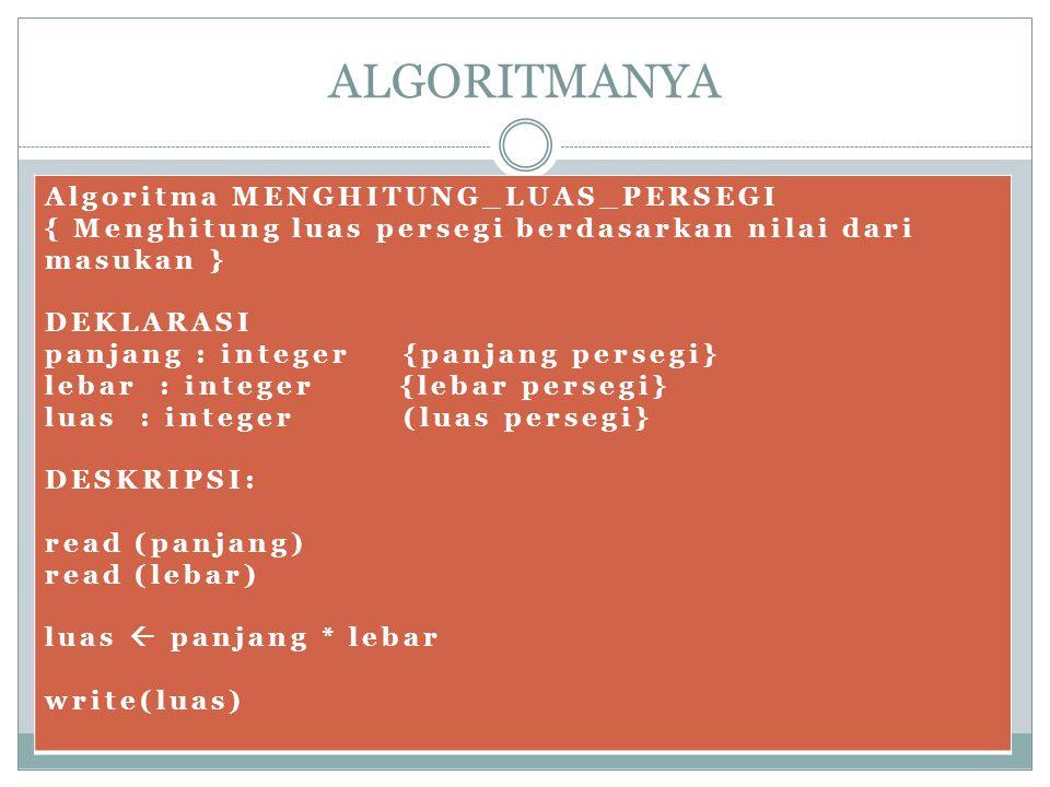 ALGORITMANYA Algoritma MENGHITUNG_LUAS_PERSEGI { Menghitung luas persegi berdasarkan nilai dari masukan } DEKLARASI panjang : integer {panjang persegi} lebar : integer {lebar persegi} luas : integer (luas persegi} DESKRIPSI: read (panjang) read (lebar) luas  panjang * lebar write(luas)