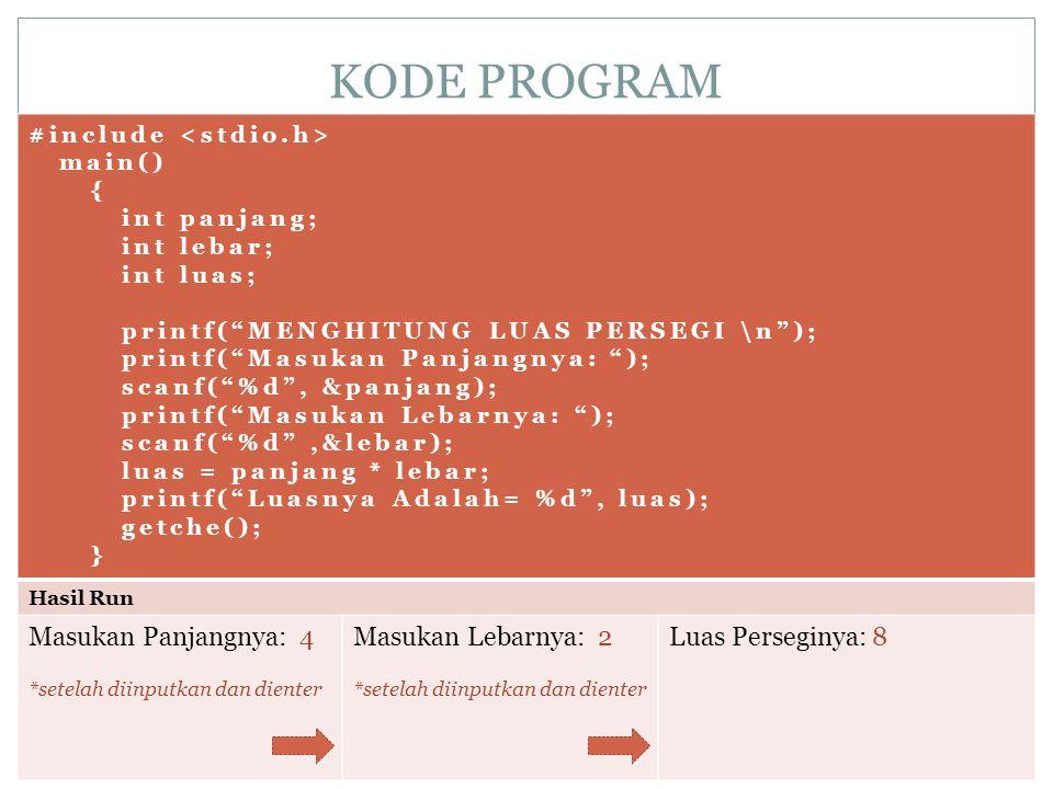 "KODE PROGRAM #include main() { int panjang; int lebar; int luas; printf(""MENGHITUNG LUAS PERSEGI \n""); printf(""Masukan Panjangnya: ""); scanf(""%d"", &pa"
