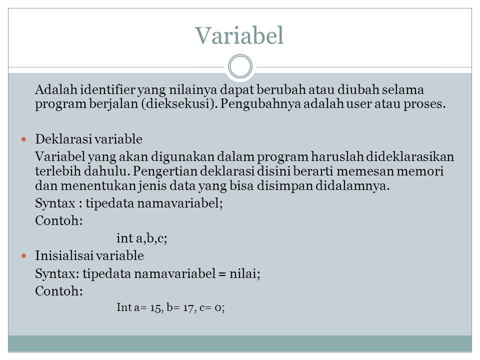 Variabel Adalah identifier yang nilainya dapat berubah atau diubah selama program berjalan (dieksekusi).