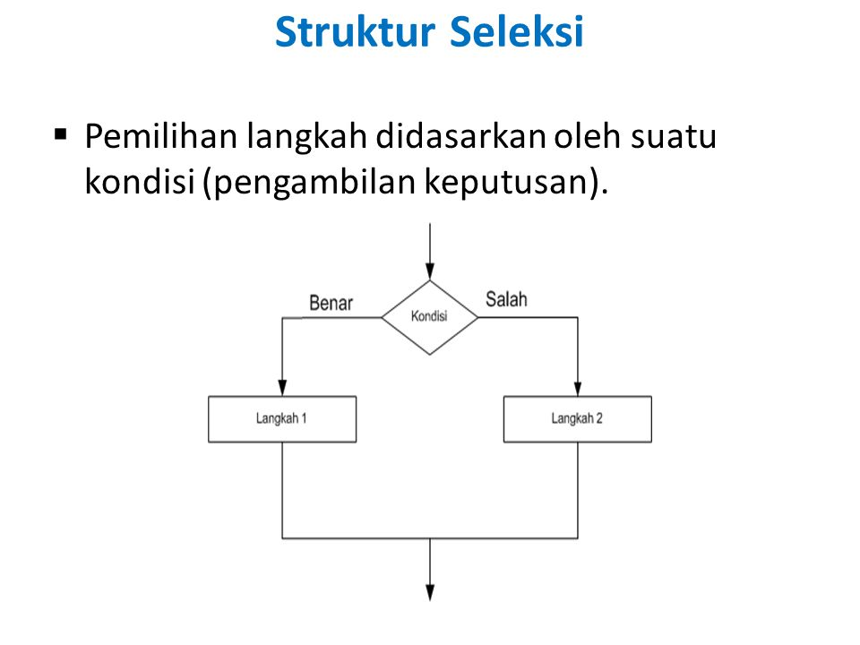  Pemilihan langkah didasarkan oleh suatu kondisi (pengambilan keputusan). Struktur Seleksi