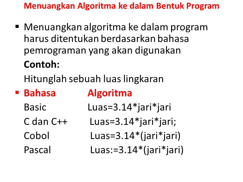 Menuangkan Algoritma ke dalam Bentuk Program  Menuangkan algoritma ke dalam program harus ditentukan berdasarkan bahasa pemrograman yang akan digunak