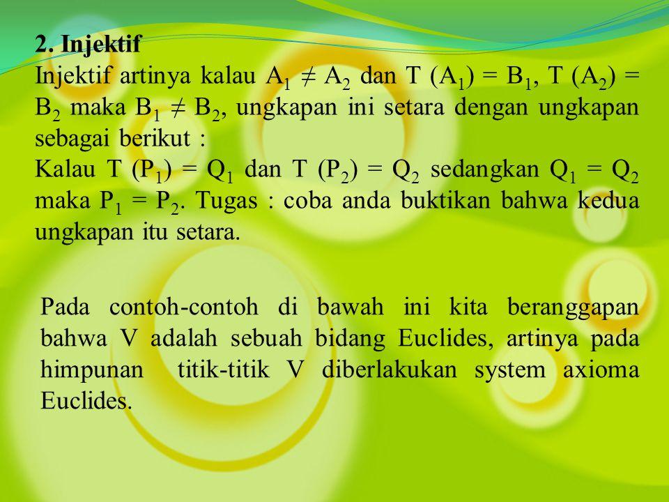 2. Injektif Injektif artinya kalau A 1 ≠ A 2 dan T (A 1 ) = B 1, T (A 2 ) = B 2 maka B 1 ≠ B 2, ungkapan ini setara dengan ungkapan sebagai berikut :