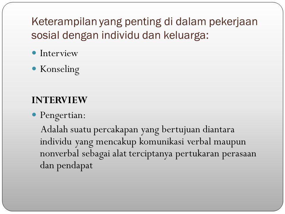 Keterampilan yang penting di dalam pekerjaan sosial dengan individu dan keluarga: Interview Konseling INTERVIEW Pengertian: Adalah suatu percakapan yang bertujuan diantara individu yang mencakup komunikasi verbal maupun nonverbal sebagai alat terciptanya pertukaran perasaan dan pendapat
