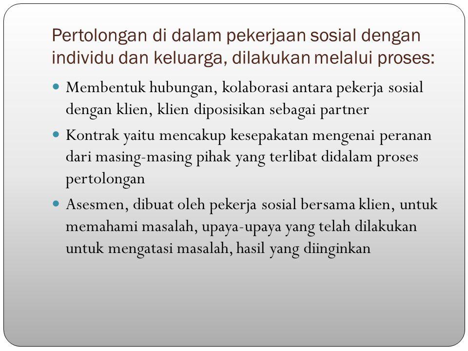 Pertolongan di dalam pekerjaan sosial dengan individu dan keluarga, dilakukan melalui proses: Membentuk hubungan, kolaborasi antara pekerja sosial den