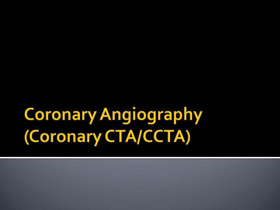 (A) Curved planar reconstruction menunjukkan stenosis fokal pada a.koronaria anterior desending (panah) B) Vessel tracking melakukan pengukuran pada a.koronaria normal [N] and regio stenotik [S] (C) Diameter stenosis 51% (panah)