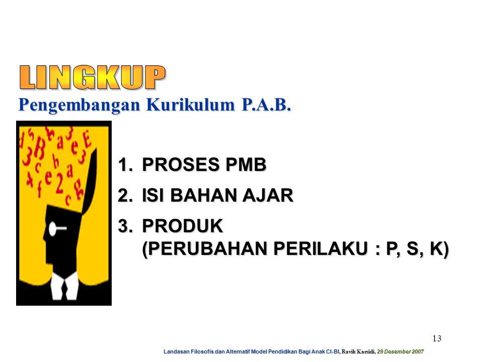 Landasan Filosofis dan Alternatif Model Pendidikan Bagi Anak CI-BI, Ravik Karsidi, 29 Desember 2007 14 Pengembangan Kurikulum P.A.B.