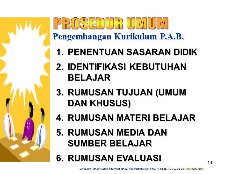 Landasan Filosofis dan Alternatif Model Pendidikan Bagi Anak CI-BI, Ravik Karsidi, 29 Desember 2007 15 Pengembangan Kurikulum P.A.B.