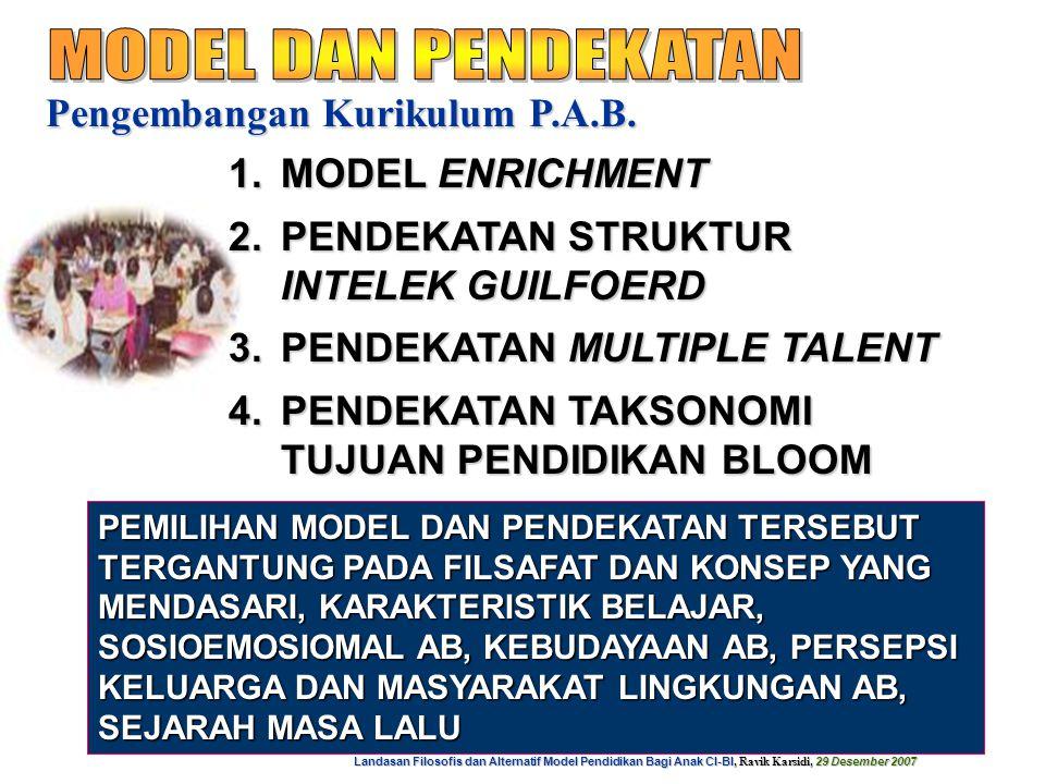 Landasan Filosofis dan Alternatif Model Pendidikan Bagi Anak CI-BI, Ravik Karsidi, 29 Desember 2007 16 1.MEMBERI KESEMPATAN MENGEMBANGKAN INTERES A.B.