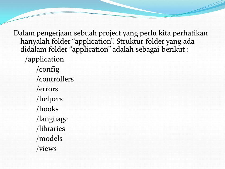 "Dalam pengerjaan sebuah project yang perlu kita perhatikan hanyalah folder ""application"". Struktur folder yang ada didalam folder ""application"" adalah"