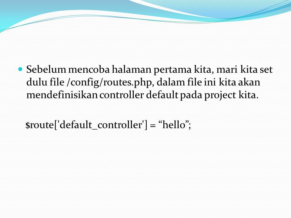 hello adalah controller yang baru saja kita buat, kita menjadikan hello sebagai controller default pada project pertama kita.