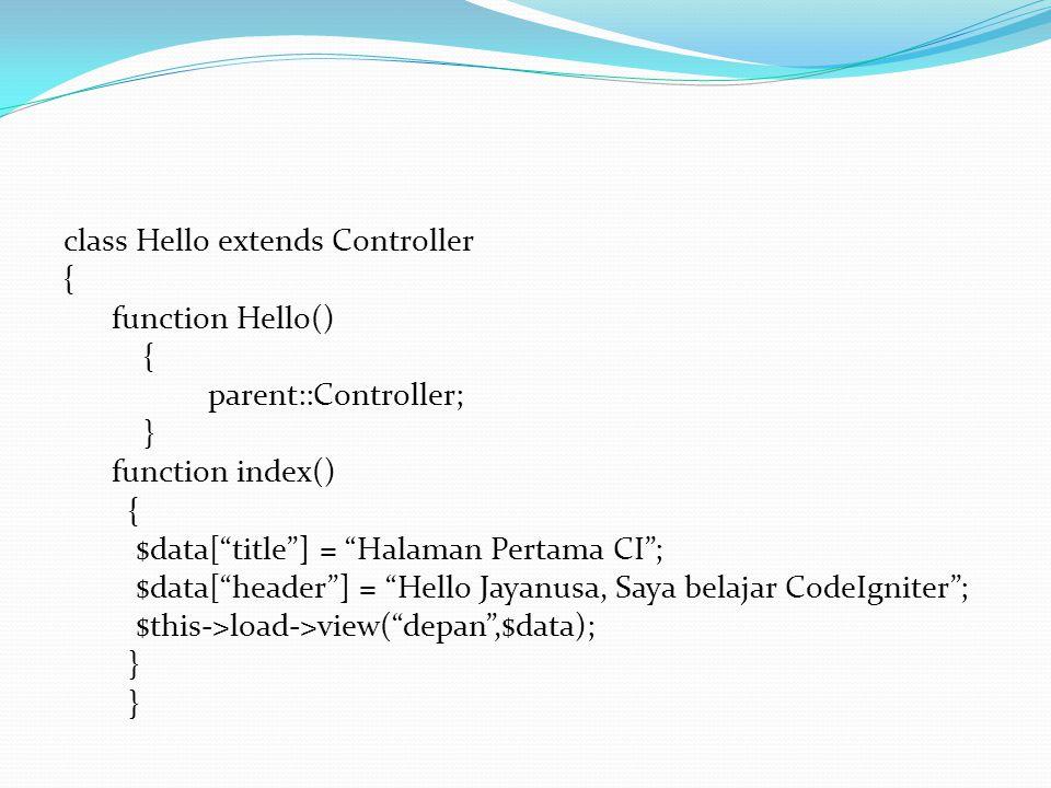 "class Hello extends Controller { function Hello() { parent::Controller; } function index() { $data[""title""] = ""Halaman Pertama CI""; $data[""header""] ="