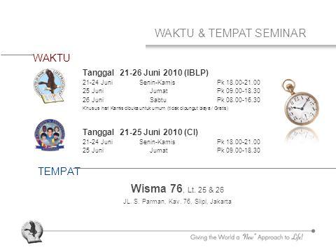 WAKTU & TEMPAT SEMINAR WAKTU TEMPAT Tanggal 21-26 Juni 2010 (IBLP) 21-24 Juni Senin-Kamis Pk 18.00-21.00 25 Juni JumatPk 09.00-18.30 26 Juni Sabtu Pk 08.00-16.30 Khusus hari Kamis dibuka untuk umum (tidak dipungut biaya / Gratis) Tanggal 21-25 Juni 2010 (CI) 21-24 Juni Senin-Kamis Pk 18.00-21.00 25 Juni JumatPk 09.00-18.30 Wisma 76, Lt.