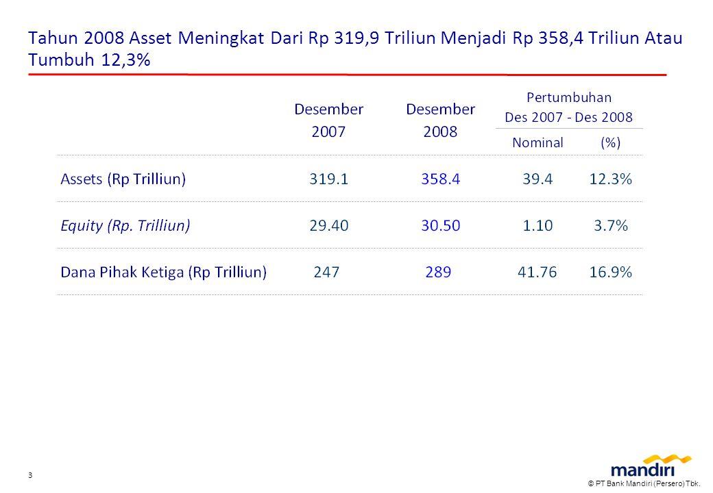 © PT Bank Mandiri (Persero) Tbk. 3 Tahun 2008 Asset Meningkat Dari Rp 319,9 Triliun Menjadi Rp 358,4 Triliun Atau Tumbuh 12,3%