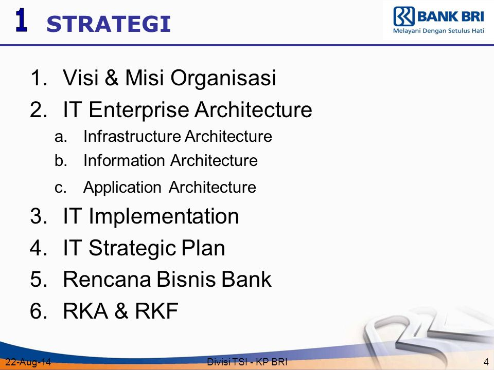 22-Aug-14Divisi TSI - KP BRI4 STRATEGI 1.Visi & Misi Organisasi 2.IT Enterprise Architecture a.Infrastructure Architecture b.Information Architecture c.Application Architecture 3.IT Implementation 4.IT Strategic Plan 5.Rencana Bisnis Bank 6.RKA & RKF