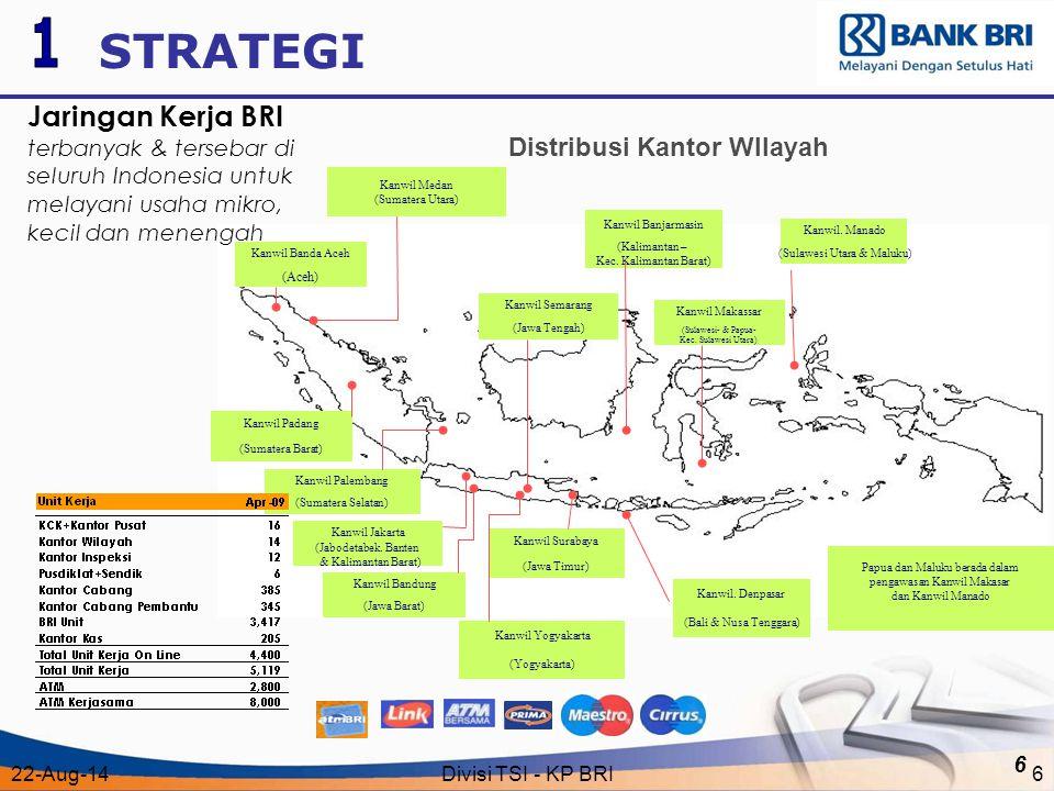 22-Aug-14Divisi TSI - KP BRI6 6 Distribusi Kantor WIlayah March 2004 Kanwil Banda Aceh (Aceh) Kanwil Banjarmasin (Kalimantan – Kec. Kalimantan Barat)