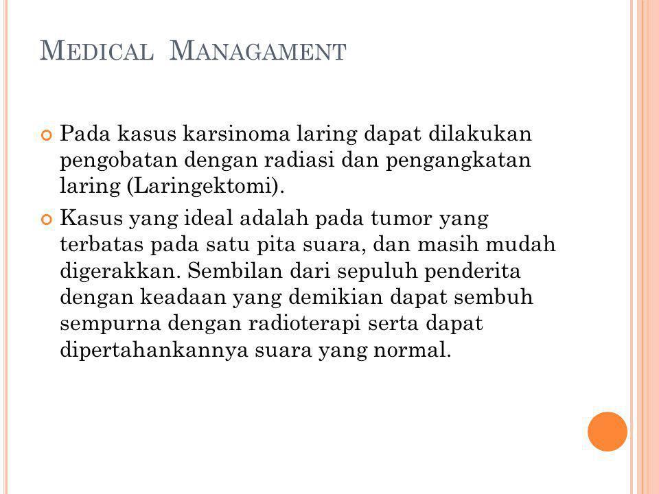 M EDICAL M ANAGAMENT Pada kasus karsinoma laring dapat dilakukan pengobatan dengan radiasi dan pengangkatan laring (Laringektomi).
