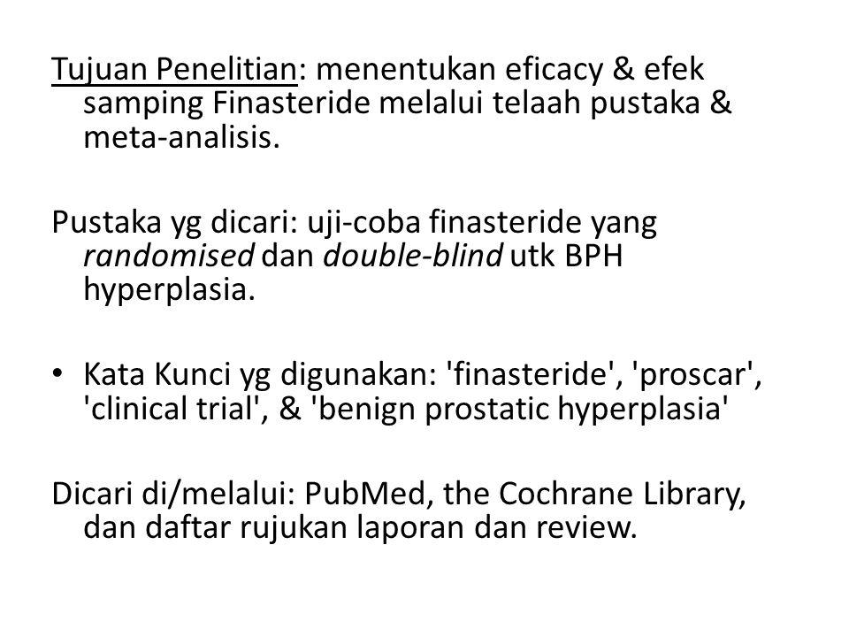 Tujuan Penelitian: menentukan eficacy & efek samping Finasteride melalui telaah pustaka & meta-analisis. Pustaka yg dicari: uji-coba finasteride yang