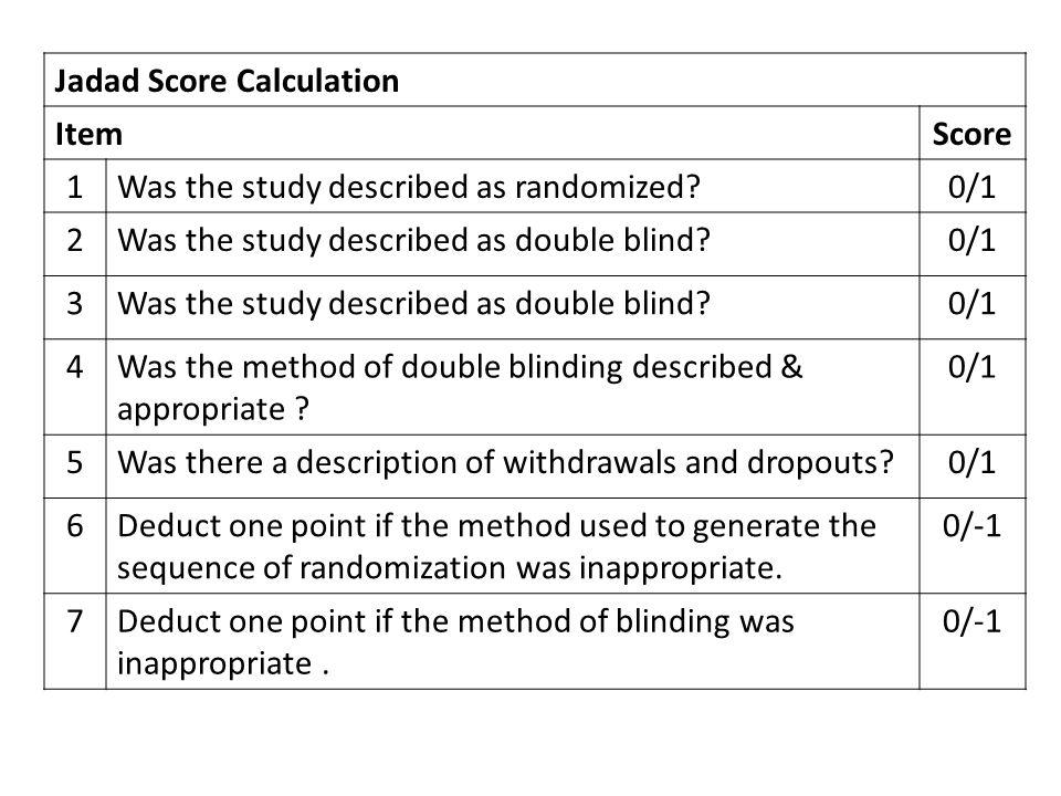Jadad Score Calculation ItemScore 1Was the study described as randomized?0/1 2Was the study described as double blind?0/1 3Was the study described as