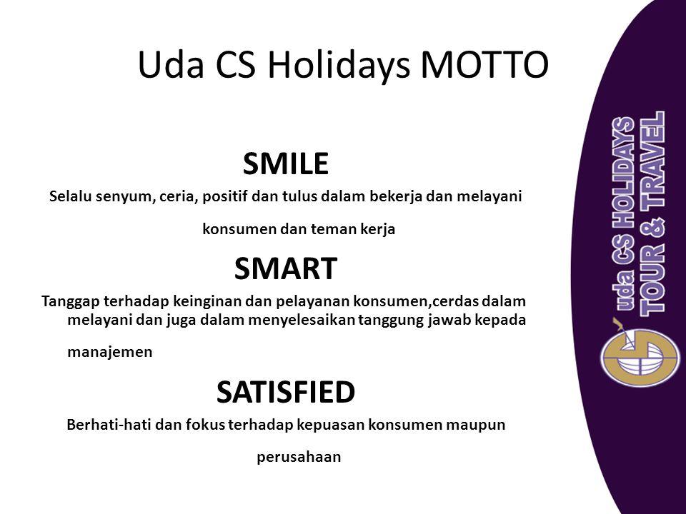 Uda CS Holidays MOTTO SMILE Selalu senyum, ceria, positif dan tulus dalam bekerja dan melayani konsumen dan teman kerja SMART Tanggap terhadap keingin