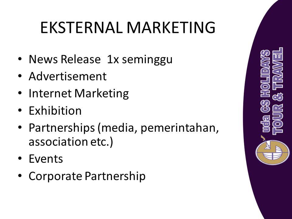 EKSTERNAL MARKETING News Release 1x seminggu Advertisement Internet Marketing Exhibition Partnerships (media, pemerintahan, association etc.) Events C