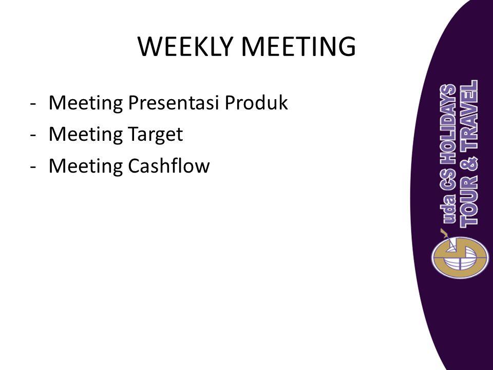 WEEKLY MEETING -Meeting Presentasi Produk -Meeting Target -Meeting Cashflow