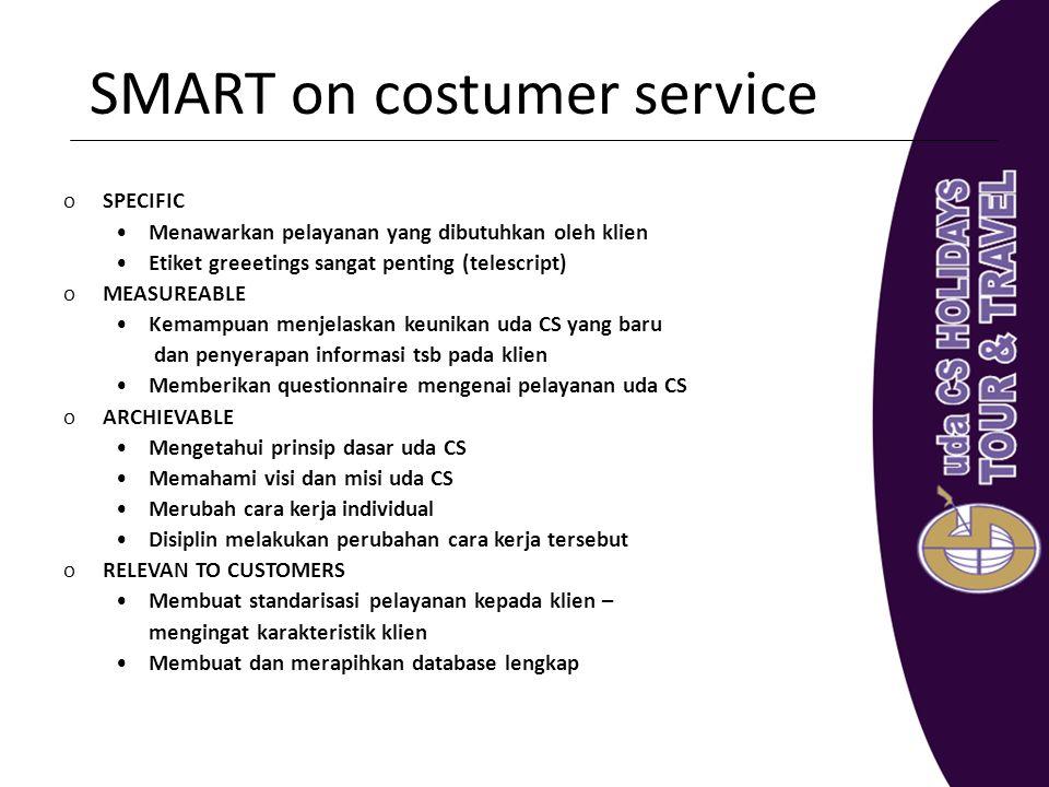 SMART on costumer service oSPECIFIC Menawarkan pelayanan yang dibutuhkan oleh klien Etiket greeetings sangat penting (telescript) oMEASUREABLE Kemampu