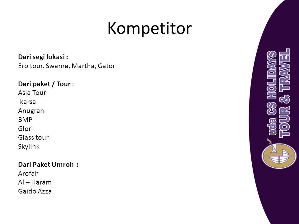 Kompetitor Dari segi lokasi : Ero tour, Swarna, Martha, Gator Dari paket / Tour : Asia Tour Ikarsa Anugrah BMP Glori Glass tour Skylink Dari Paket Umr