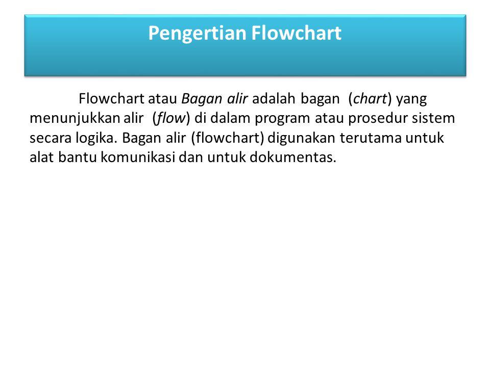 Flowchart atau Bagan alir adalah bagan (chart) yang menunjukkan alir (flow) di dalam program atau prosedur sistem secara logika. Bagan alir (flowchart