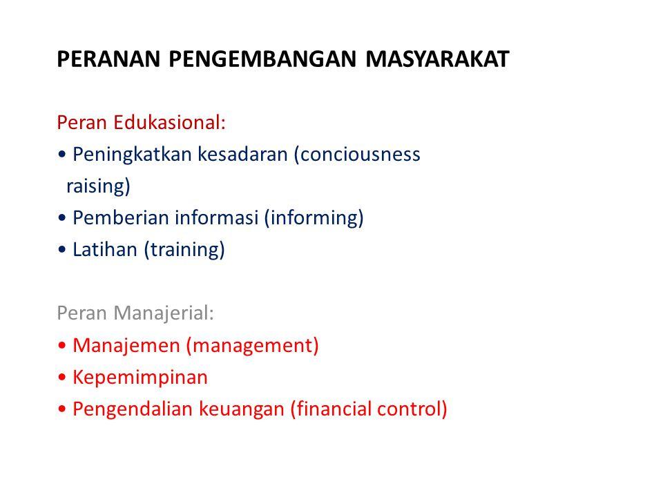 PERANAN PENGEMBANGAN MASYARAKAT Peran Edukasional: Peningkatkan kesadaran (conciousness raising) Pemberian informasi (informing) Latihan (training) Pe