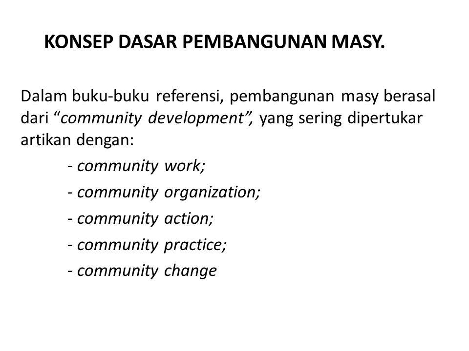 """KONSEP DASAR PEMBANGUNAN MASY. Dalam buku-buku referensi, pembangunan masy berasal dari """"community development"""", yang sering dipertukar artikan dengan"""