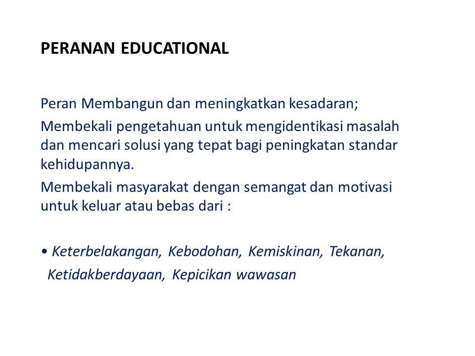 PERANAN EDUCATIONAL Peran Membangun dan meningkatkan kesadaran; Membekali pengetahuan untuk mengidentikasi masalah dan mencari solusi yang tepat bagi