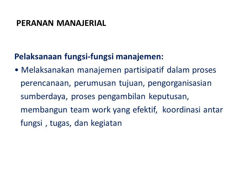 PERANAN MANAJERIAL Pelaksanaan fungsi-fungsi manajemen: Melaksanakan manajemen partisipatif dalam proses perencanaan, perumusan tujuan, pengorganisasi