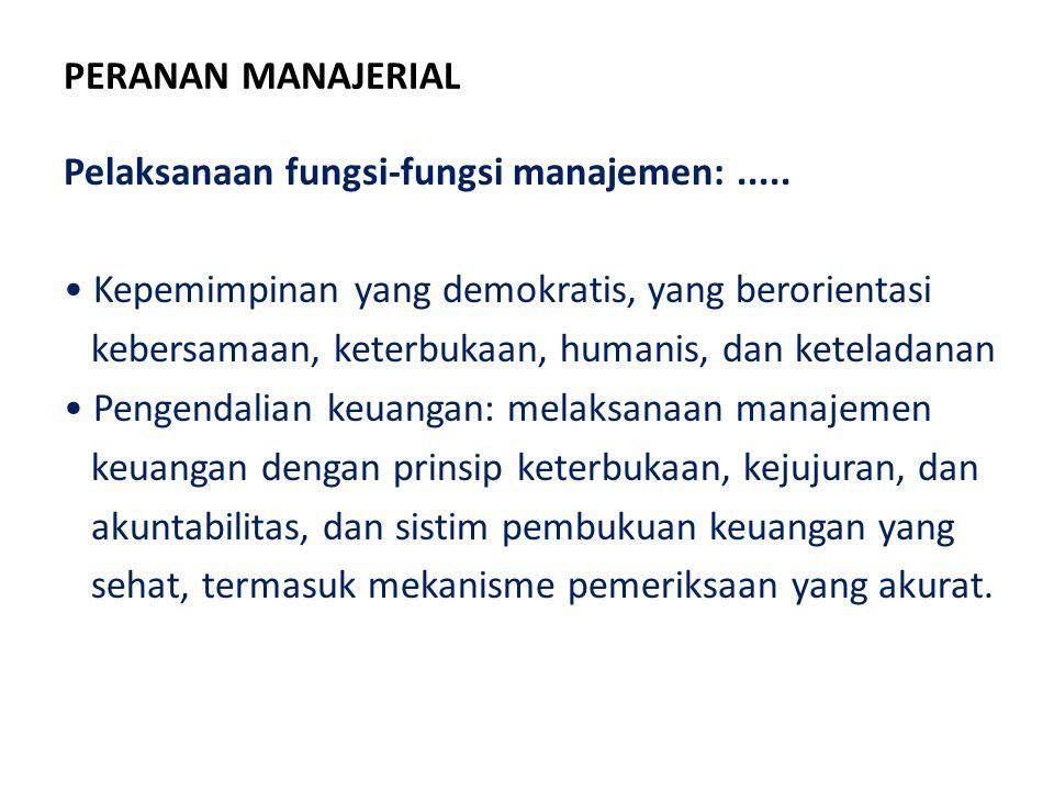 PERANAN MANAJERIAL Pelaksanaan fungsi-fungsi manajemen:..... Kepemimpinan yang demokratis, yang berorientasi kebersamaan, keterbukaan, humanis, dan ke