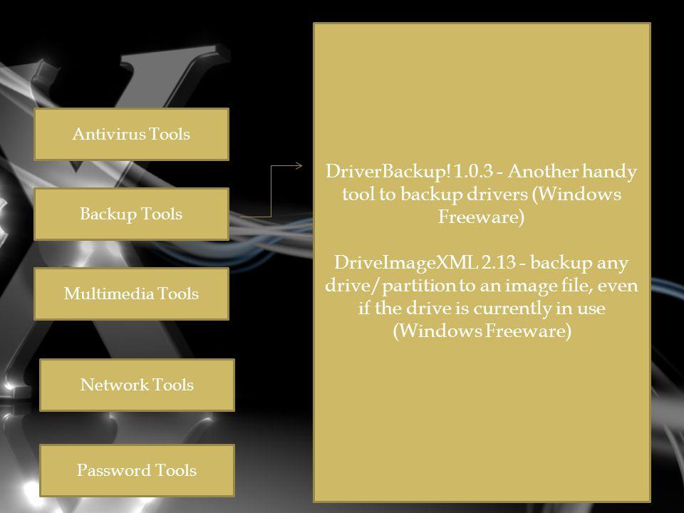 Antivirus Tools Backup Tools Multimedia Tools Network Tools Password Tools DriverBackup.