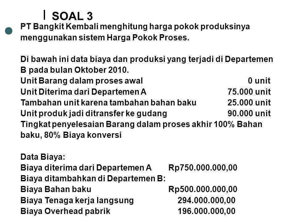 PT Bangkit Kembali menghitung harga pokok produksinya menggunakan sistem Harga Pokok Proses. Di bawah ini data biaya dan produksi yang terjadi di Depa