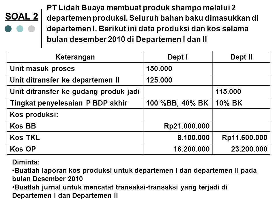PT Bangkit Kembali menghitung harga pokok produksinya menggunakan sistem Harga Pokok Proses.