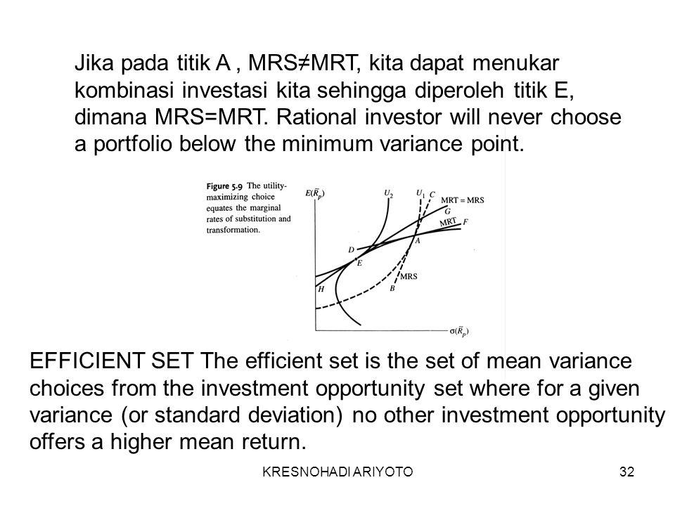 KRESNOHADI ARIYOTO32 Jika pada titik A, MRS≠MRT, kita dapat menukar kombinasi investasi kita sehingga diperoleh titik E, dimana MRS=MRT.
