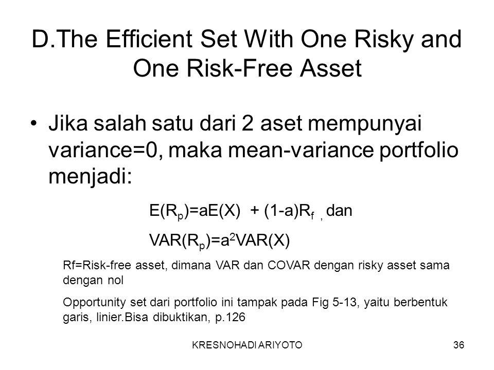 KRESNOHADI ARIYOTO36 D.The Efficient Set With One Risky and One Risk-Free Asset Jika salah satu dari 2 aset mempunyai variance=0, maka mean-variance portfolio menjadi: E(R p )=aE(X) + (1-a)R f, dan VAR(R p )=a 2 VAR(X) Rf=Risk-free asset, dimana VAR dan COVAR dengan risky asset sama dengan nol Opportunity set dari portfolio ini tampak pada Fig 5-13, yaitu berbentuk garis, linier.Bisa dibuktikan, p.126