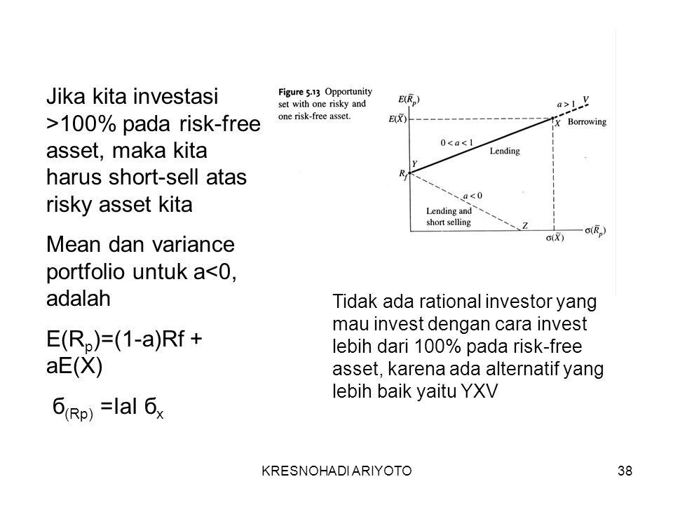 KRESNOHADI ARIYOTO38 Jika kita investasi >100% pada risk-free asset, maka kita harus short-sell atas risky asset kita Mean dan variance portfolio untuk a<0, adalah E(R p )=(1-a)Rf + aE(X) б (Rp) =IaI б x Tidak ada rational investor yang mau invest dengan cara invest lebih dari 100% pada risk-free asset, karena ada alternatif yang lebih baik yaitu YXV