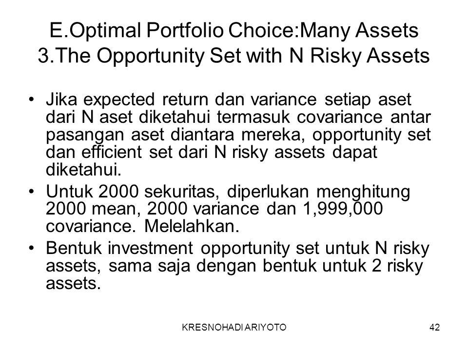 KRESNOHADI ARIYOTO42 E.Optimal Portfolio Choice:Many Assets 3.The Opportunity Set with N Risky Assets Jika expected return dan variance setiap aset dari N aset diketahui termasuk covariance antar pasangan aset diantara mereka, opportunity set dan efficient set dari N risky assets dapat diketahui.