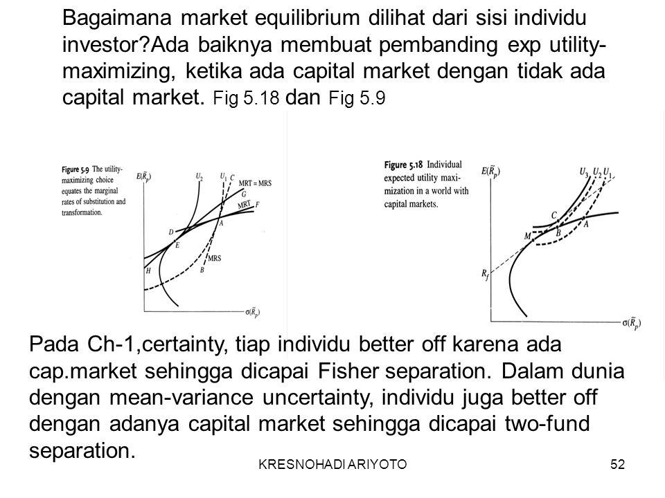 KRESNOHADI ARIYOTO52 Bagaimana market equilibrium dilihat dari sisi individu investor Ada baiknya membuat pembanding exp utility- maximizing, ketika ada capital market dengan tidak ada capital market.