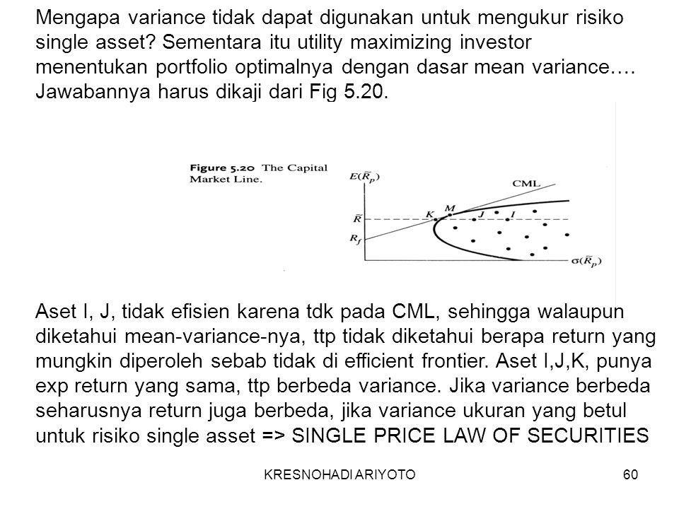 KRESNOHADI ARIYOTO60 Mengapa variance tidak dapat digunakan untuk mengukur risiko single asset.