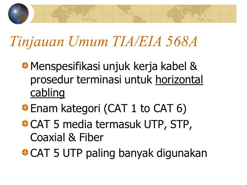 Tinjauan Umum TIA/EIA 568A Menspesifikasi unjuk kerja kabel & prosedur terminasi untuk horizontal cabling Enam kategori (CAT 1 to CAT 6) CAT 5 media termasuk UTP, STP, Coaxial & Fiber CAT 5 UTP paling banyak digunakan