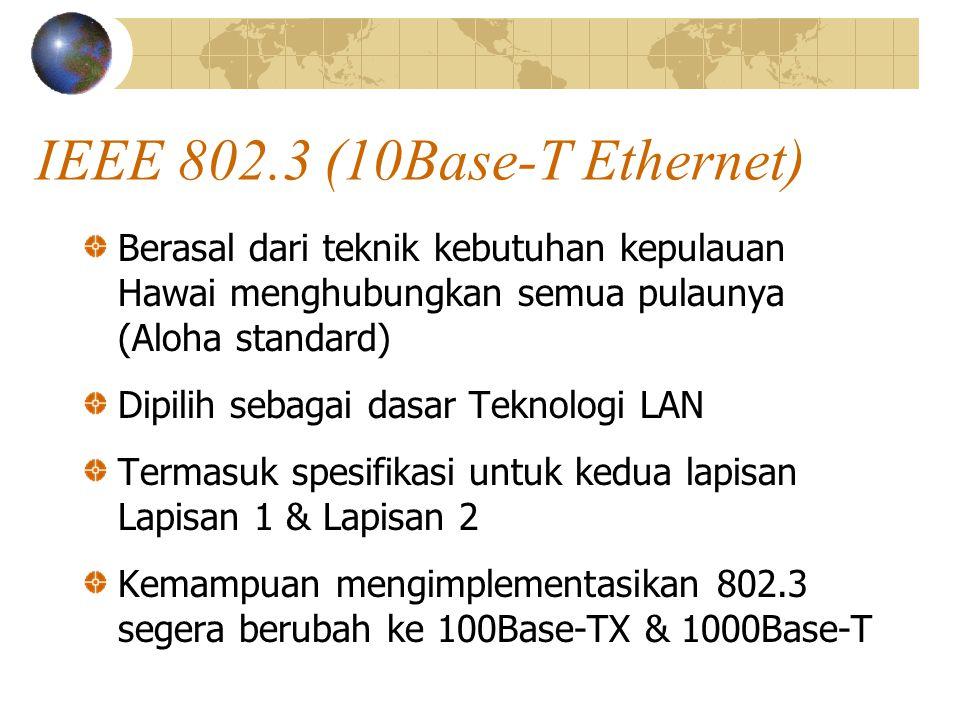 IEEE 802.3 (10Base-T Ethernet) Berasal dari teknik kebutuhan kepulauan Hawai menghubungkan semua pulaunya (Aloha standard) Dipilih sebagai dasar Teknologi LAN Termasuk spesifikasi untuk kedua lapisan Lapisan 1 & Lapisan 2 Kemampuan mengimplementasikan 802.3 segera berubah ke 100Base-TX & 1000Base-T