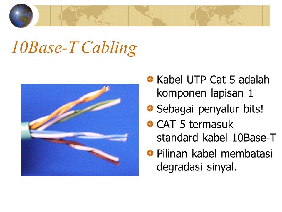 10Base-T Cabling Kabel UTP Cat 5 adalah komponen lapisan 1 Sebagai penyalur bits.