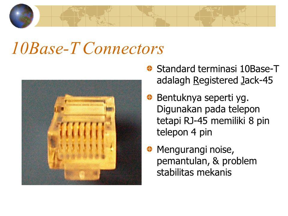 10Base-T Connectors Standard terminasi 10Base-T adalagh Registered Jack-45 Bentuknya seperti yg.
