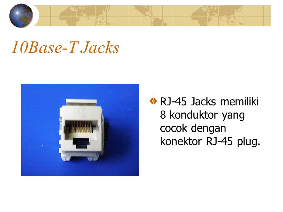 10Base-T Jacks RJ-45 Jacks memiliki 8 konduktor yang cocok dengan konektor RJ-45 plug.